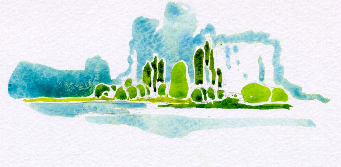 Along the Saone River, France - en plein air watercolor sketchbook painting 2009