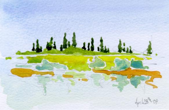 Along the Rhone River, France 2009 - en plein air watercolor sketch