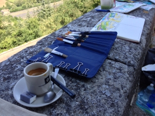 Espresso and en plein air art studio, Sault, France 2014