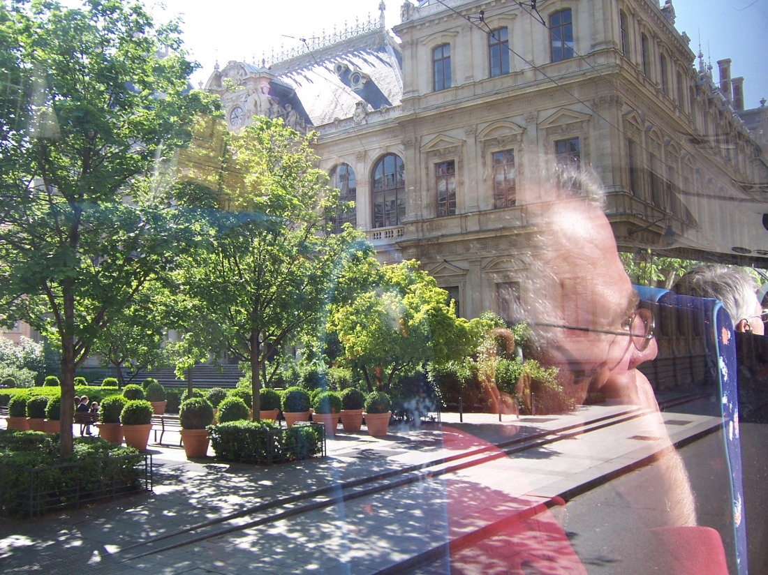 Reflections in Bus Window, Avignon, France - April 2009