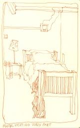 My bed at Hostel Vertigo, Staff Apartment, Marseille, France 2014 - ink sketchbook drawing