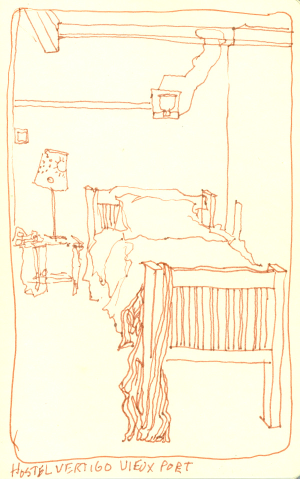 My bed at Hostel Vertigo, Staff Apartment, Marseille, France 2014 - ink sketchbook drawing