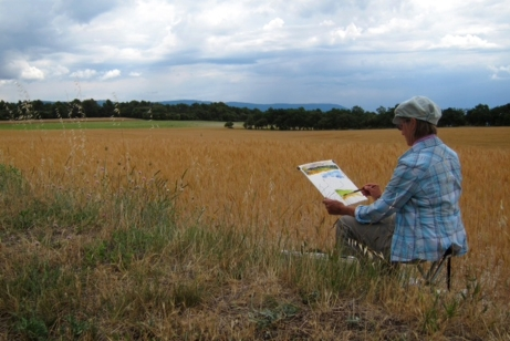 Painting wheatfields on the outskirts of Murs, en plein air, France 2014