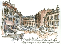 Temperature study - ink and watercolor - Vieux Port, Marseille, France 2014