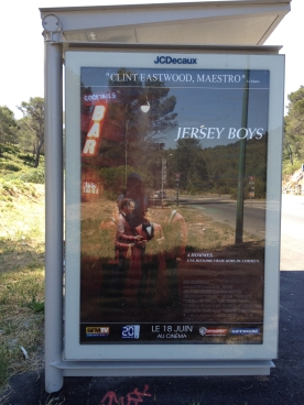 Jersey Boys poster, Les Calanques bus stop, Marseille, France 2014