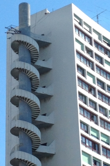 Spiral Fire Escape, Le Brasilia vu de la Cite Radieuse built in 1967, Marseille, France 2014