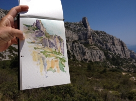 Les Calanques, Marseille, France 2014 - ink and watercolor sketchbook drawing