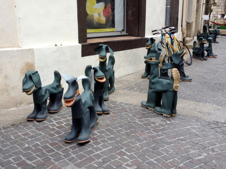 Market day rubber boot dogs, L'Isle sur la Sorgue, France 2014