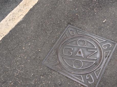 GAZ utility cover, StreetArt, Marseille, France 2014
