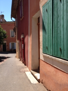 Doorway and shuttered windows, Roussillon, France 2014