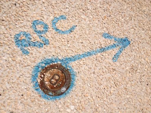 bk utilities cover marseille RPC blue arrow street art chriscarterartist photography 062914