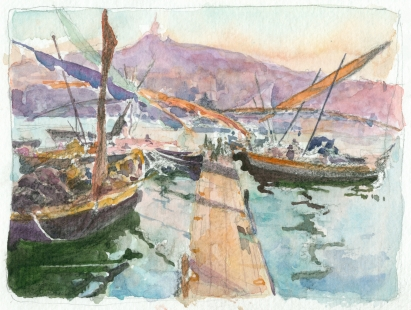 bksm watercolor study Edouard Crémieux oil Pontons animés sur le Vieux-Port chriscarterartist Marseille 062914b