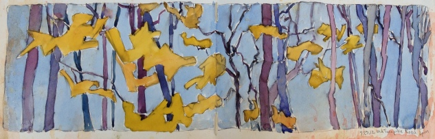 Trees, en plein air ink and watercolor - Drive and Draw Game September 2012