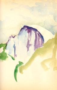 Half Dome, Yosemite - watercolor sketchbook drawing 1977