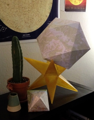Octahedron and Icosahedron made from topographical maps - February 2014