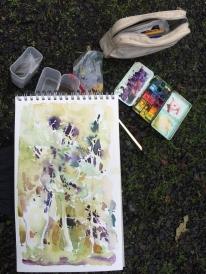 Point Reyes, CA, en plein air watercolor setup - November 2012