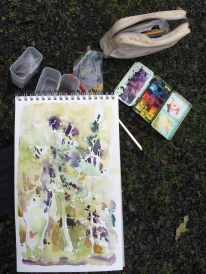 Point Reyes, CA, en plein air watercolor setup - November 2012