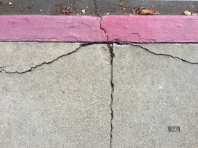Pink Painted Curb - StreetArt, Mountain View, CA - Nov 2014