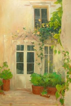 "Villeneuve, France - oil painting 40"" x 30"" - 2010"