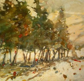 Winter landscape, Vermont - watercolor and pastel