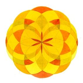 Yellow Mandala - watercolor