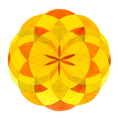 Yellow Mandala - watercolor