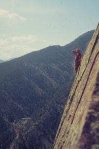 Climbing Yellow Spur, Eldorado Canyon, Boulder, CO, 1977